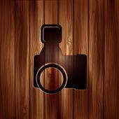 Photo camera icon. Photography. Wooden texture. — Stock Vector