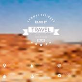 Estate offuscamento, sfocato astratto con etichetta di viaggio. vacanze, mare. — Vettoriale Stock