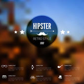 Abstract defocused, blurred landscape background with hipster sign. Vintage label with retro icons. — Stock Vector