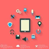 Plano abstrato com ícones da web. símbolos de interface. computação em nuvem. dispositivos móveis. — Vetorial Stock