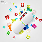 Abstract medical background with application icons. — Wektor stockowy