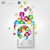 Button.social media.cloud arbeiten. — Stockvektor