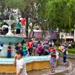 Carnival water and foam in Vilcabamba Ecuador - Stock Photo