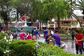 Carnival water and foam in Vilcabamba Ecuador — Stock Photo