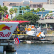 Competitors perform a flight on Red Bull Flugtag — Stock Photo