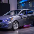 Hyundai Accent hatchback car on display at the LA Auto Show. — Stock Photo