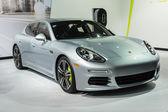 Porsche Panamera car on display at the LA Auto Show. — Stock Photo