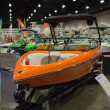 Sanger boat on display at the Los Angeles Boat Show on February — Stok fotoğraf