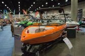 Sanger boat on display at the Los Angeles Boat Show on February — Stockfoto