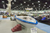 Hallett 290 boat on display at the Los Angeles Boat Show on Febr — Stockfoto