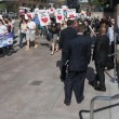 Stock Photo: Activists in front of consulate of Japin Los Angeles to protest dolphins slaughter in Taiji.
