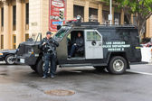 Los Angeles police departament rescue truck parked on the street — Stock Photo