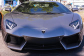 Grey Lamborghini on exhibition parking at an annual event Superc — Stock Photo