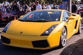 Yellow Lamborghini on exhibition parking at an annual event Supe — Stock Photo