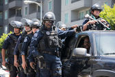 Police on the street during the LA Kings Stanley Cup Parade Celebration — Zdjęcie stockowe