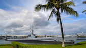 USS Bowfin Submarine Museum docked for exhibition — Stock Photo