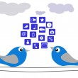 The Birds and social network — Stock Photo #18376825