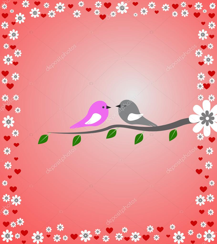 Birds with flowers and hearts in background — Stock Photo #18643091
