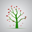 Red heart tree — Stock Photo
