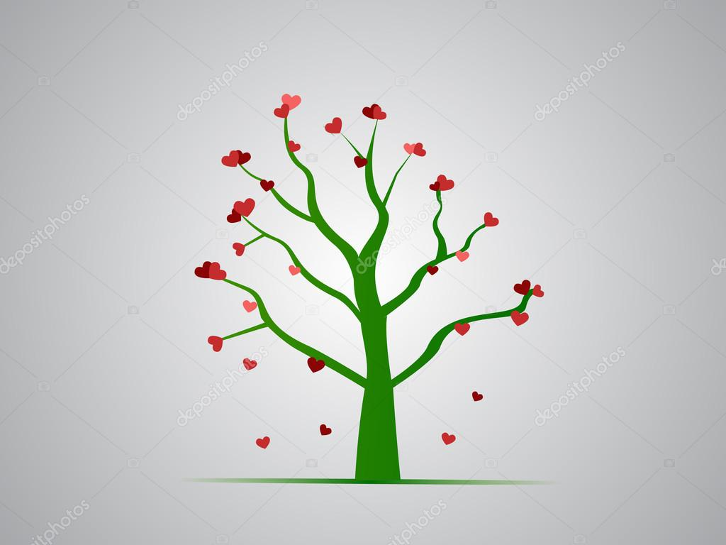 Green tree with red hearts — Stock Photo #18795545
