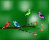 Birds in the spring green — Stock Vector