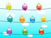 Nuvens e pássaros coloridos — Vetor de Stock