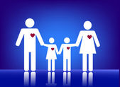 Family with heart — Stock Vector