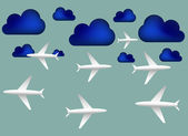 Airplanes and blue clouds — Stock Vector