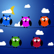 Five owls at night — Stock Vector #32236183