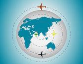 Airplanes around the globe — ストックベクタ