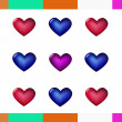 Three colors hearts — Stock Vector