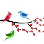 Three birds branch — Stock Vector #39297541