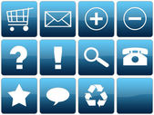 Blue Glossy Web Icon Set — Stock Photo