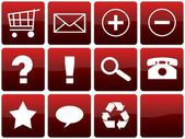 Red Glossy Web Icon Set — Stock Photo