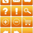 Orange Glossy Web Icon Set — ストック写真