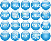 Set of Glossy Blue Promotional Web-Icons — Stock Photo