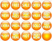 Set of Glossy Orange Promotional Web-Icons — Stockfoto