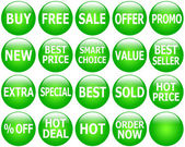 Set of Glossy Green Promotional Web-Icons — Stok fotoğraf