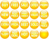Set of Glossy Yellow Promotional Web-Icons — Stok fotoğraf