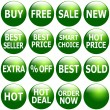 Set of Glossy Green Promotional Web-Icons — Stock Photo