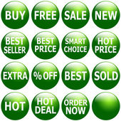 Set of Glossy Green Promotional Web-Icons — Stock fotografie
