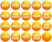 Set of Orange Promotional Web-Icons — Stock Photo