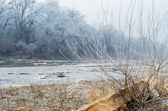 Winter landscape with the river — Stock Photo