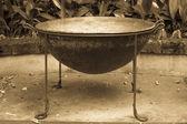 Very big cast iron pot — 图库照片