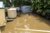 Back Yard under flood water — Stock Photo