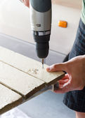 Screw being Drilled into Wood — Stock Photo