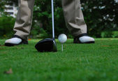 Teeing up the ball — Stock Photo