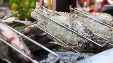 Burning fish — Stock Video