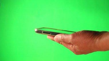 Telefoon groene scherm aan te raken — Stockvideo