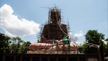 Buddha statue construction with timelapse — Stock Video